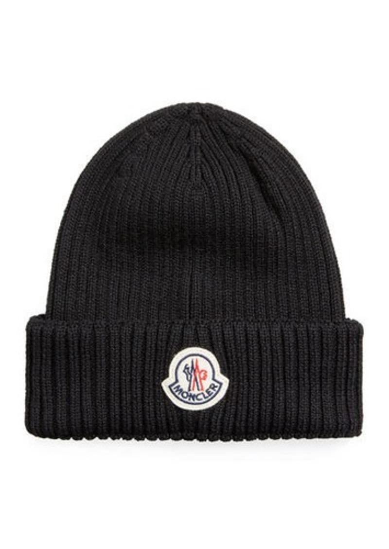Moncler Men's Logo-Patch Wool Beanie Hat