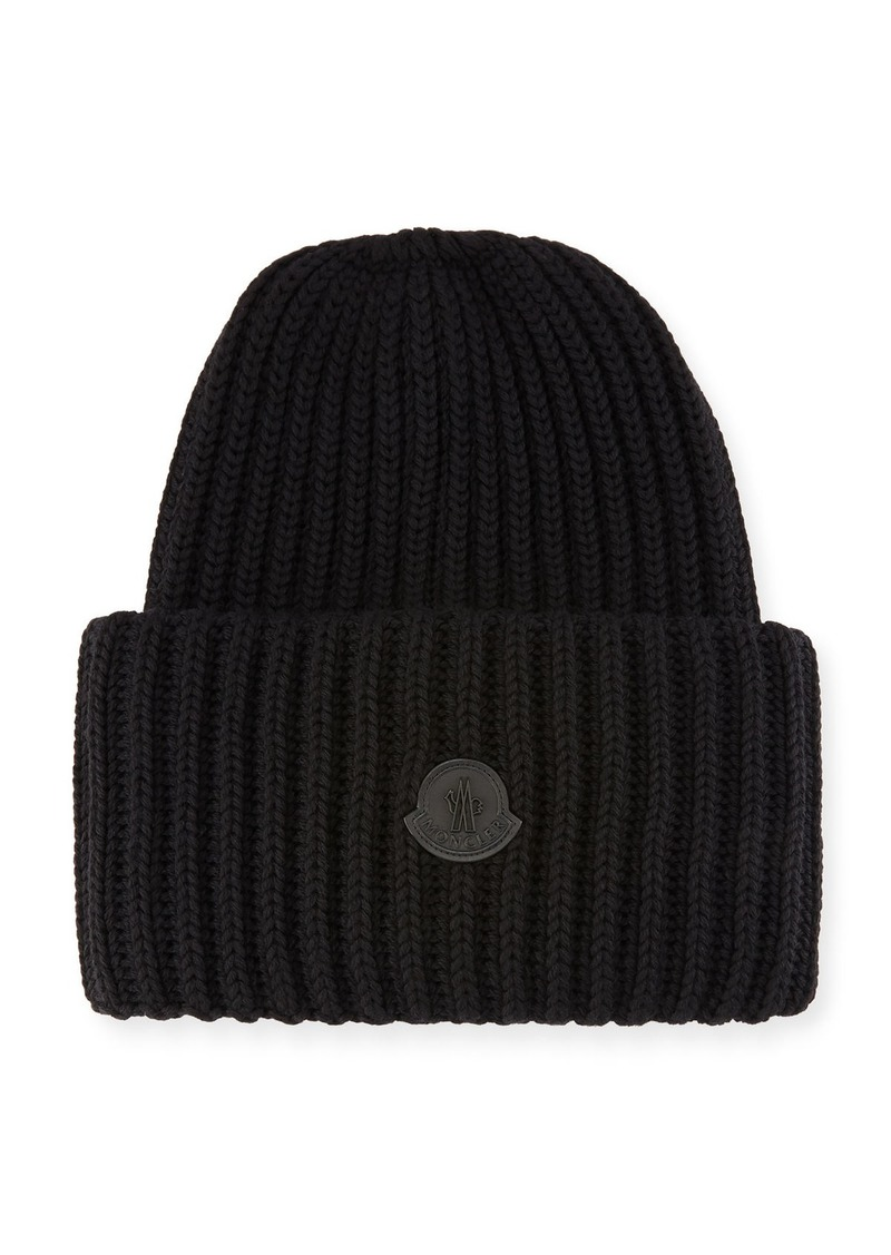 c6632ad9527 Moncler Men s Oversized Ribbed Logo Beanie Hat