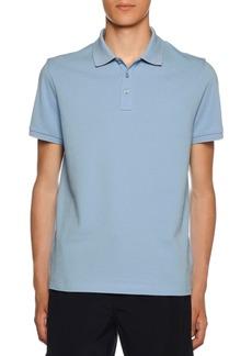 Moncler Men's Polo Shirt with Striped Undercollar