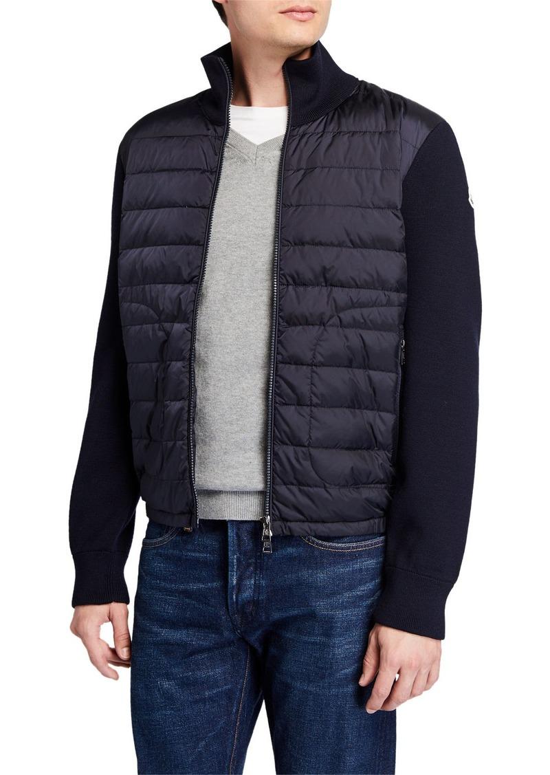 Moncler Men's Puffer Zip-Front Sweater