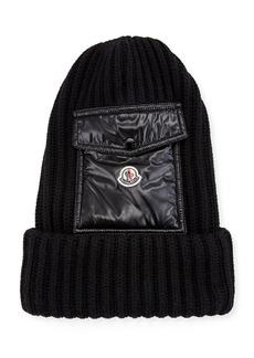 Moncler Men's Ribbed Beanie Hat w/ Flap Pocket