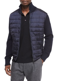 Moncler Mixed Media Quilted Jacket