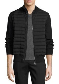 Moncler Zip-Front Puffer Cardigan  Black