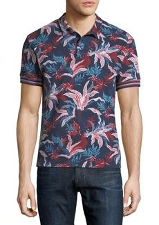 Moncler Navy Floral Pique Polo Shirt