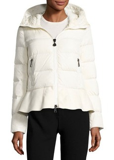 Moncler Nesea Quilted Puffer Coat w/Wool Trim