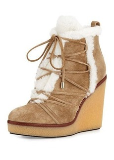 Moncler Osja Shearling Wedge Bootie