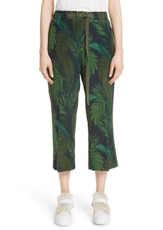 Moncler Palm Print Crop Silk Pants