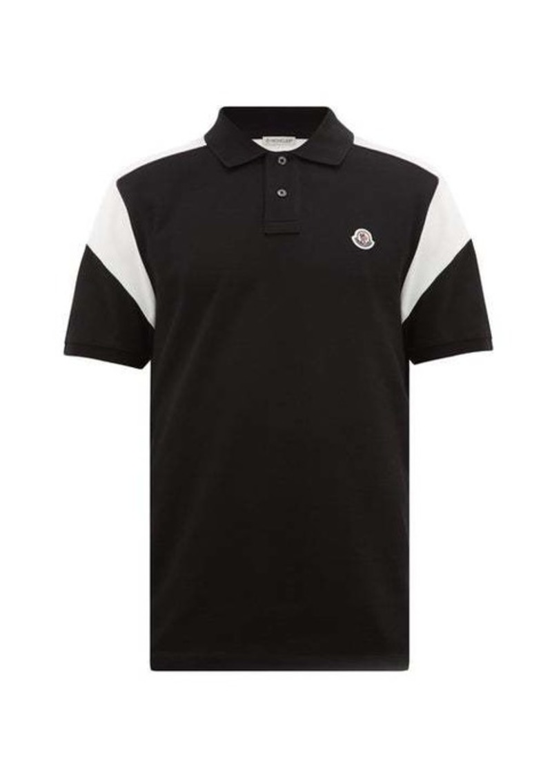 Moncler Panelled logo-plaque cotton-piqué polo shirt