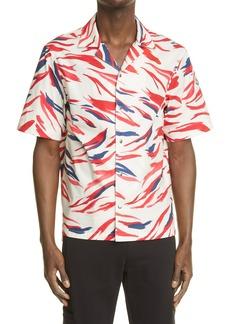 Moncler Print Short Sleeve Snap-Up Shirt