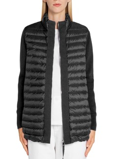 Moncler Quilted Lightweight Down & Wool Cardigan