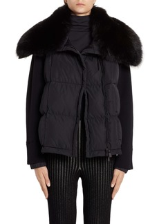 Moncler Quilted Down & Knit Jacket with Genuine Fox Fur Collar