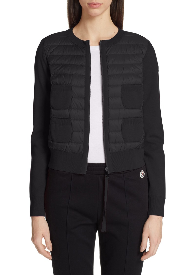 Moncler Alla Coreana Lightweight Down Front Wool Cardigan