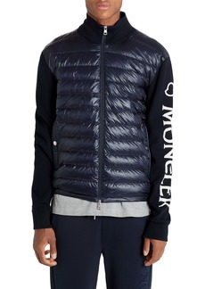 Moncler Quilted Down Front Tricot Cotton Cardigan
