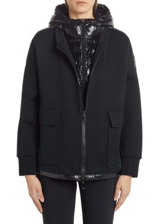 Moncler Quilted Down Mixed Media Jacket