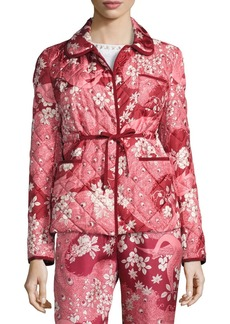 Moncler Quilted Floral Silk Open-Front Jacket
