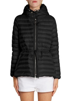 Moncler Raie Tie Waist Hooded Lightweight Down Jacket