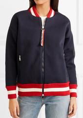 Moncler Ribbed knit-trimmed cotton-neoprene bomber jacket