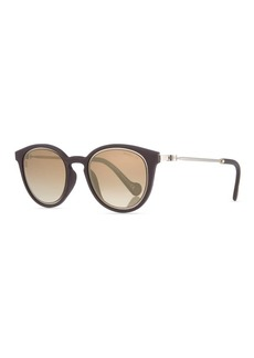 Moncler Round Mirrored Acetate/Metal Sunglasses