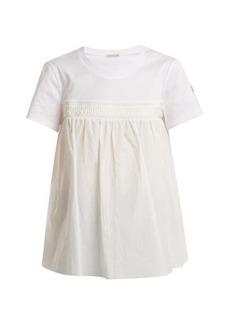 Moncler Round-neck gathered-panel cotton T-shirt
