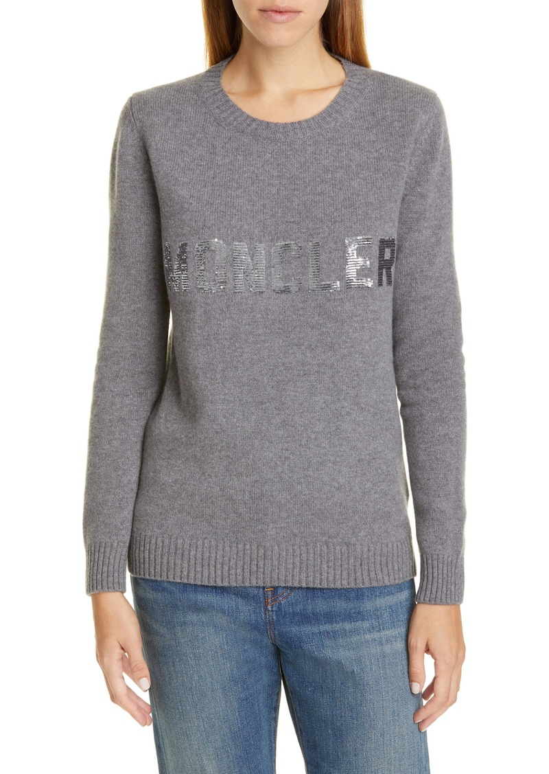 Moncler Sequin Logo Wool & Cashmere Sweater