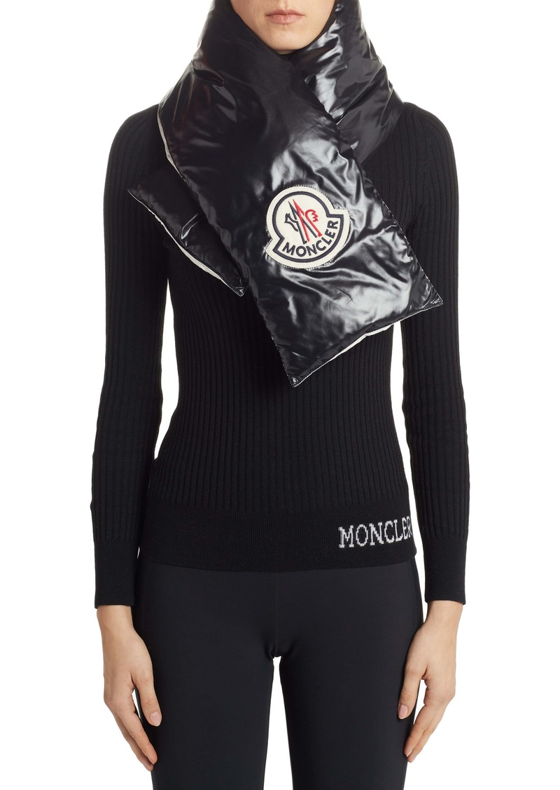 Moncler Shiny Two-Tone Down Scarf