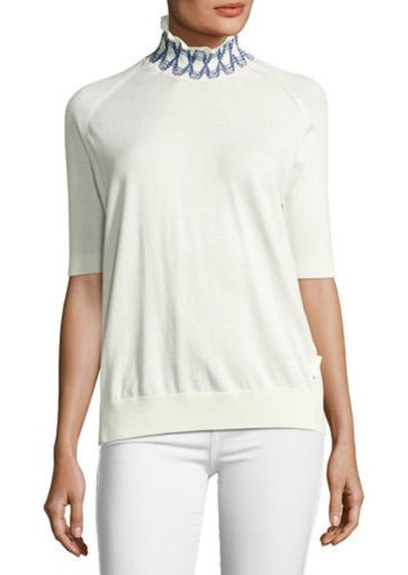 Moncler Moncler Short-Sleeve Raglan Cotton Turtleneck Sweater ...