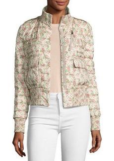 Moncler Silene Boxy Floral Bomber Jacket