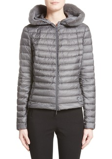 Moncler Sorbus Genuine Mink Fur Trim Quilted Jacket