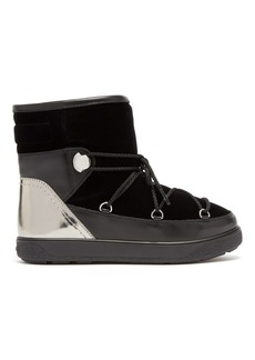 Moncler Stephanie velvet and leather snow boots
