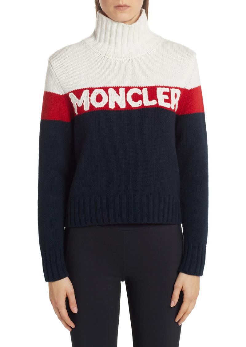 Moncler Stripe Logo Turtleneck Sweater