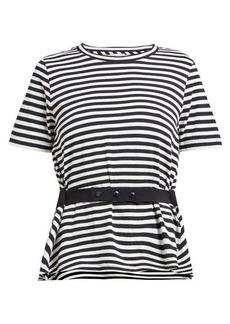 Moncler Striped peplum jersey T-shirt