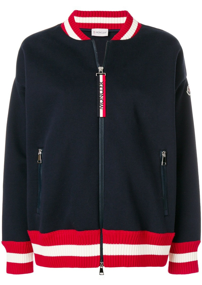 Moncler striped trim zipped sweatshirt