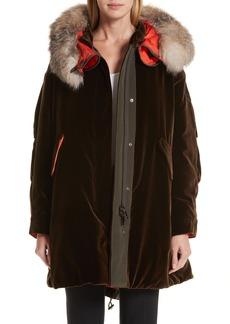 Moncler Tadorne Velvet Down Coat with Genuine Fox Fur Trim