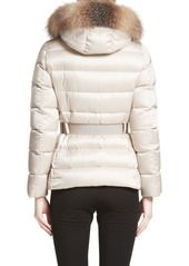ce19fa99a5ff ... Moncler Tatie Belted Down Puffer Coat with Removable Genuine Fox Fur  Trim