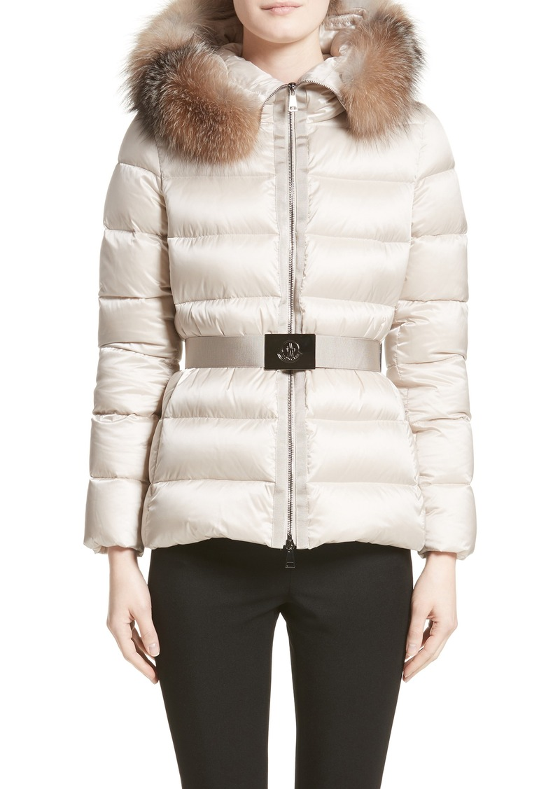 8ef3b52b4b74 Moncler Tatie Belted Down Puffer Coat with Removable Genuine Fox Fur Trim