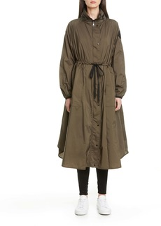 Moncler Lin Tie Waist Water Resistant Nylon Raincoat