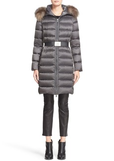 Moncler Tinuviel Belted Down Puffer Coat with Removable Genuine Fox Fur Trim