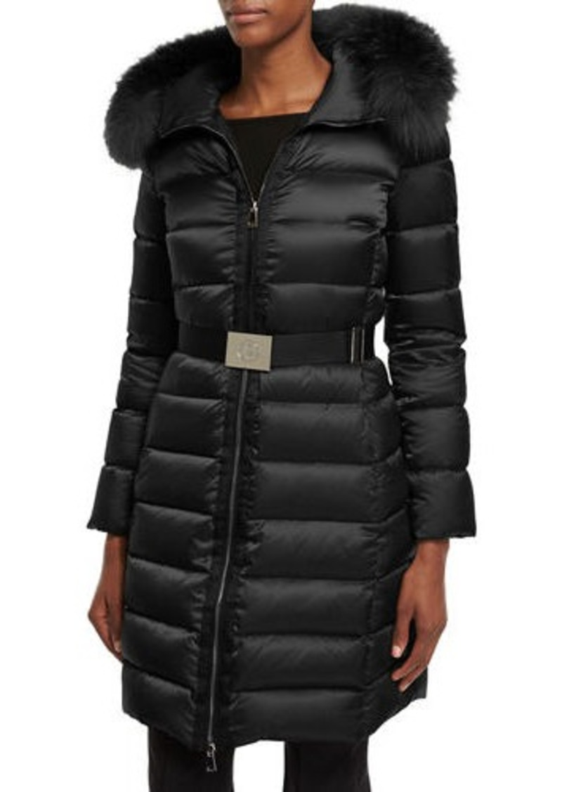 758ac873d Tinuviel Shiny Quilted Puffer Coat w/Fur Hood