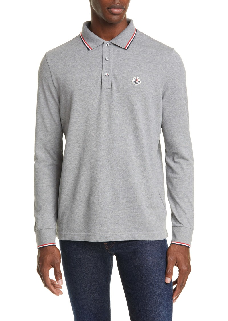 Moncler Tipped Long Sleeve Piqué Polo