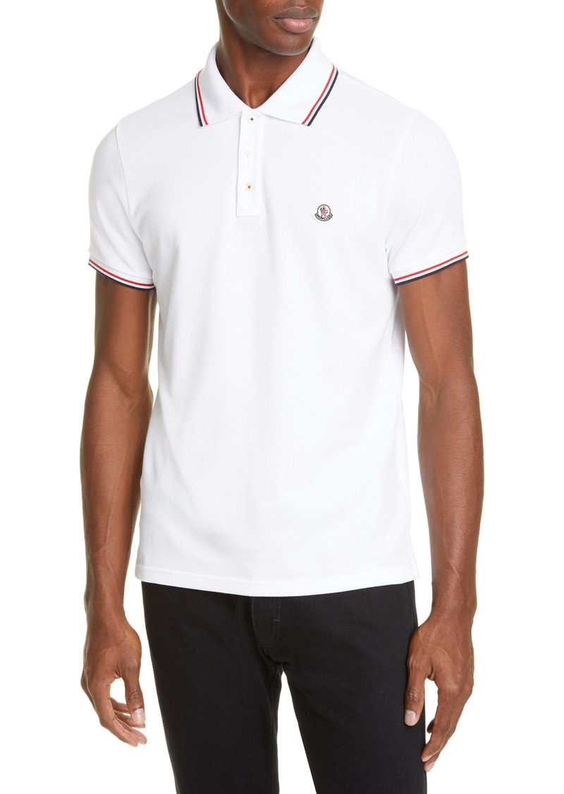 Moncler Tipped Solid Short Sleeve Piqué Polo