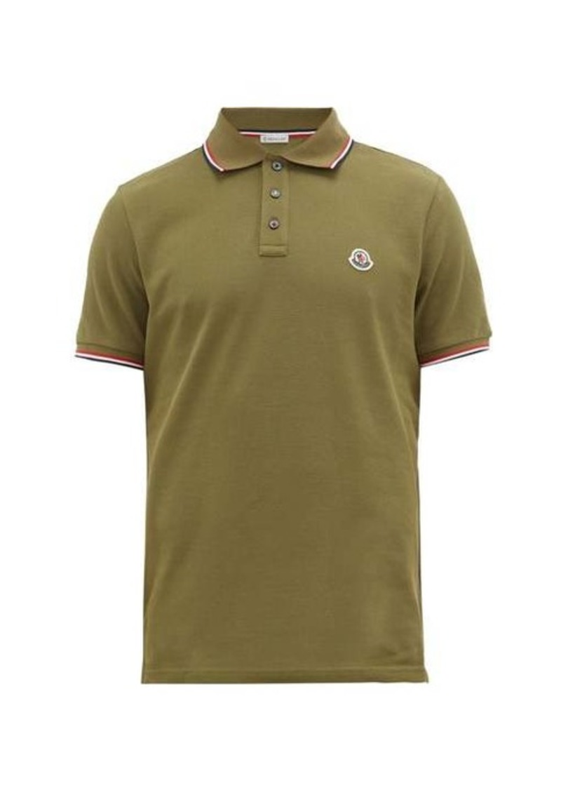 Moncler Tipped-trim logo-plaque cotton-piqué polo shirt