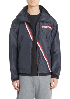 Moncler Trakehner Logo Stripe Hooded Nylon Jacket