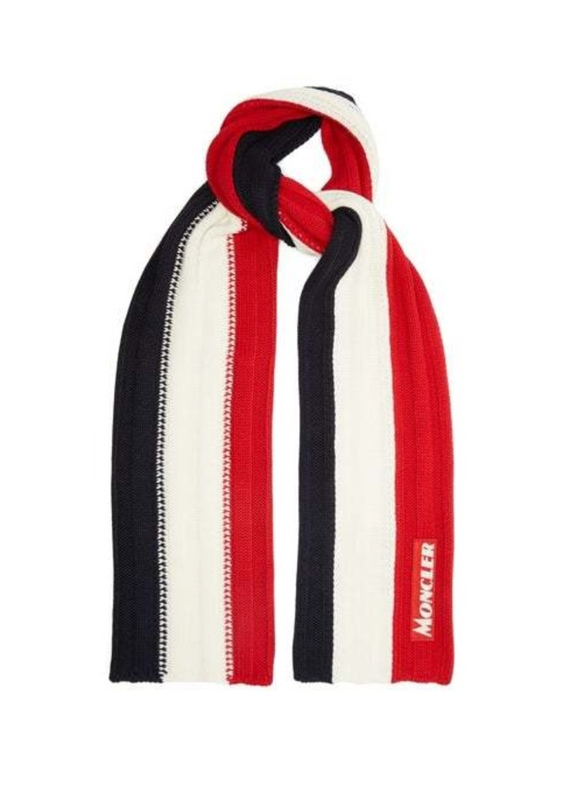 Moncler Tricolour ribbed-knit wool scarf