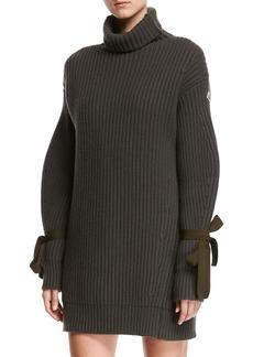 Moncler Turtleneck Ribbed Ribbon Sweater Dress