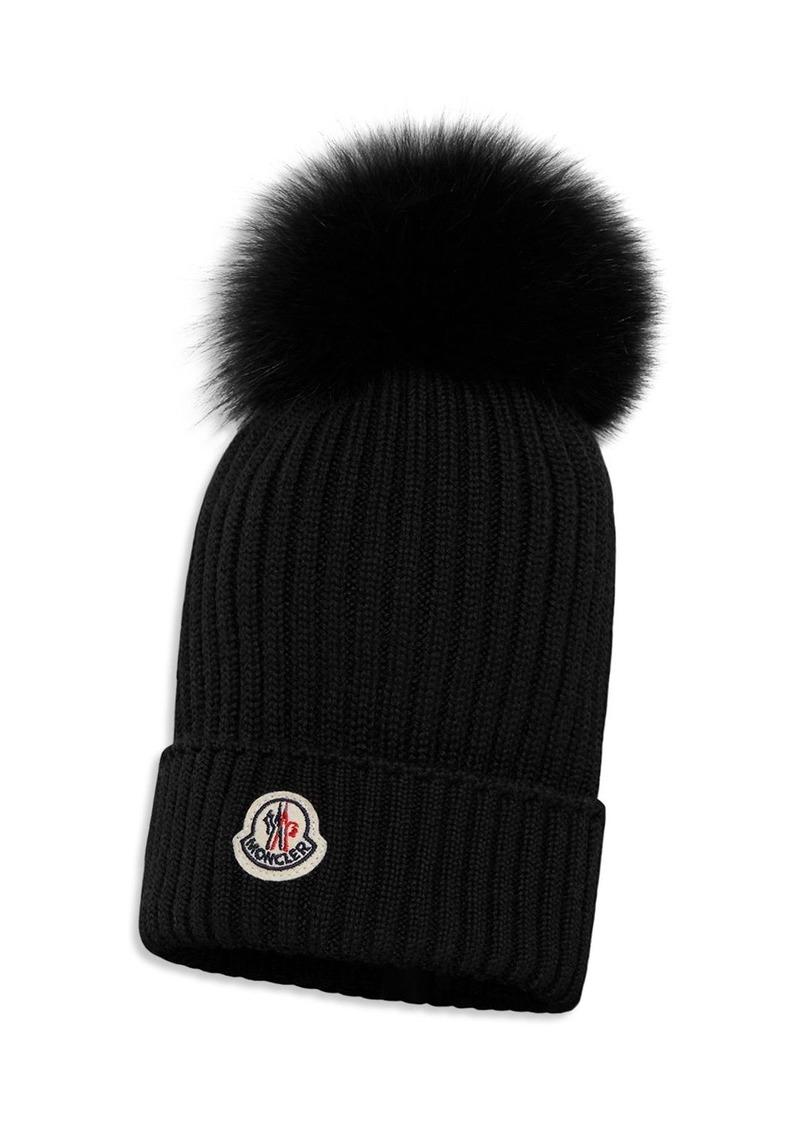 Moncler Unisex Ribbed Fur-Pom Hat - Little Kid, Big Kid