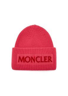 Moncler Velvet-logo wool beanie hat