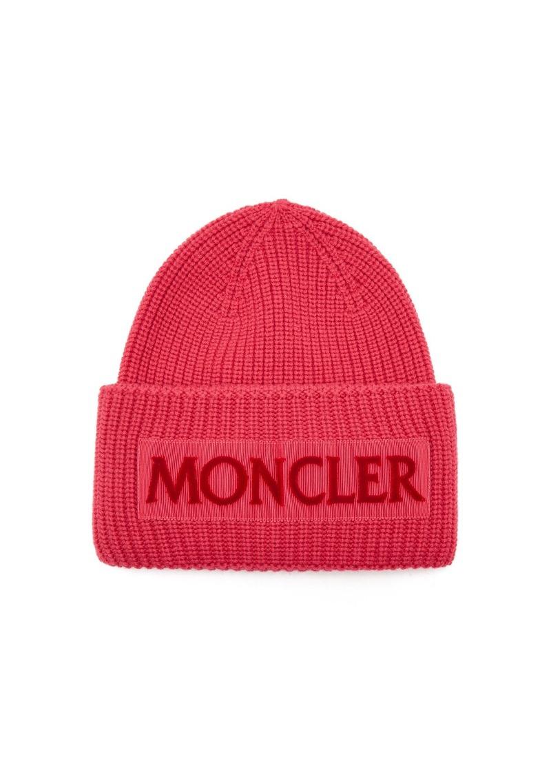 273fac4ef16 Moncler Moncler Velvet-logo wool beanie hat