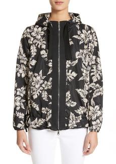 Moncler Water Resistant Floral Print Hooded Jacket