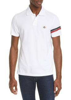 Moncler White Short Sleeve Piqué Polo