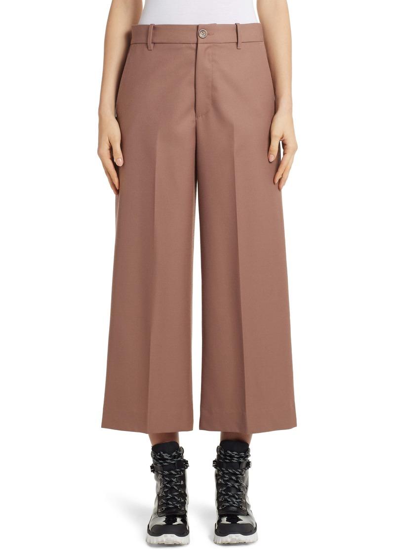 Moncler Wide Leg Wool Crop Pants
